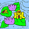 Frogs and water lily coloring
