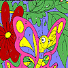 Funny pink butterfly coloring