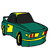 Green long city car coloring
