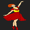 Red dress ballerina girl coloring