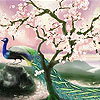 Sakura and peacock slide puzzle
