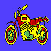 Simple colorful motorcycle coloring
