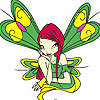 Green winged fairy coloring