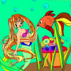 Kid's coloring: Young mermaid