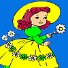 Village girl and flowers coloring